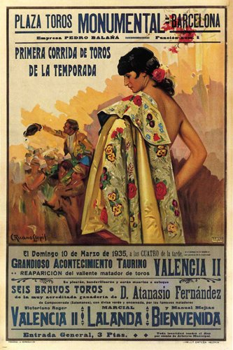 BULLFIGHT vintage ad poster BARCELONA SPAIN 1935 CORRIDA 24X36 VERY RARE by HSE