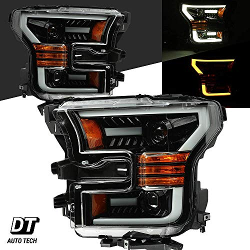 AlphaRex Projector Headlights Headlamps Assembly LED Switchback DRL+Turn Signal For 2015-2017 F-150 F150 (Gloss Black Projector)