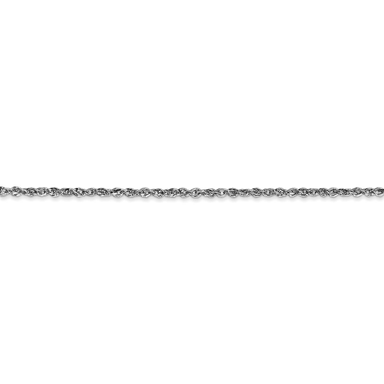 Roy Rose Jewelry 10k White Gold 1.7mm Ropa Chain ~ length 10 inches