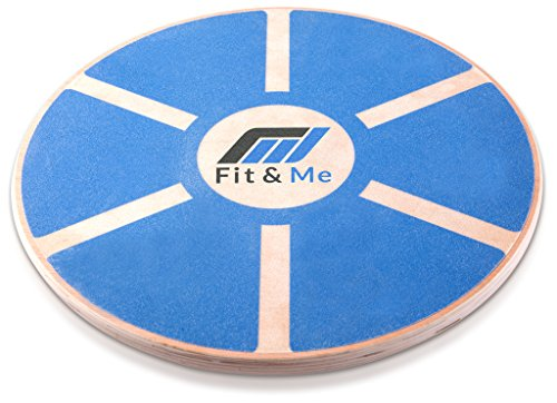Fit&Me Wooden Wobble Balance Board - Video Exercises Included - Perfect for Exercise, Fitness and Physical Therapy - Improve Balance, Tone Muscles & Strengthen Core
