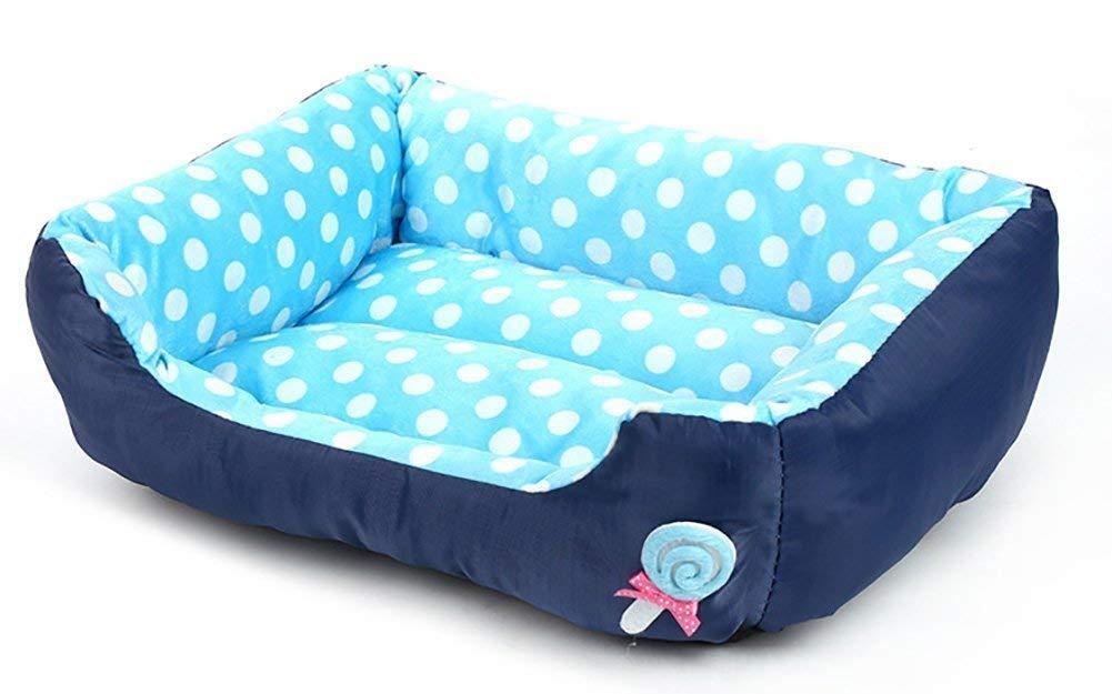 FERZA petsuppliesmisc Square Waterloo Dog Bed Cat Bed Mat Pet Bed Blanket Thick Soft Cotton Lint Lollipops Pet Nest Autumn Winter Warm (color   bluee, Size   L)