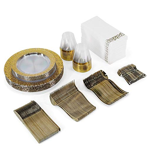 Disposable Dinnerware Set- Plastic Plates Set For Parties & Wedding Includes 25 Of Each In Gold: Clear Dinner & Dessert Party Plates - Silverware Sets- Gold Rimmed Cups + 50 Paper Napkins (Etiquette Party)