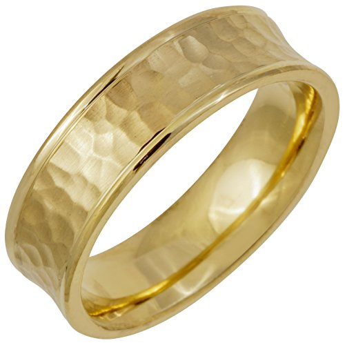 (14K Yellow Gold Center Stripe Men's Hammered Finish Concave Comfort Fit Wedding Band (6mm) Size-8.5c1)