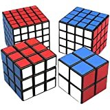 FomaTrade Cube Puzzle Bundle Pack,2x2x2,3x3x3,4x4x4,5x5x5 Set,Speed Cube Collection Speed Cube Set, 4 Pack Magic Cube Bundle - 2x2x2 3x3x3 4x4x4,5x5x5 Cubes Collection Puzzle Toy for Kids (Black)