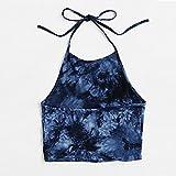 FORUU Tank Top for Women V Neck Short Casual Tie Dye Sleeveless Vest Halter Cami