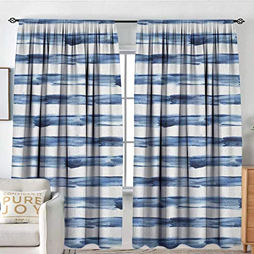 "Petpany Window Blackout Curtains Harbour Stripe,Watercolor Style Paintbrush Stripes Sea Marine Life Symbol Lines Image, Night Blue White,for Room Darkening Panels for Living Room, Bedroom 54""x63"""