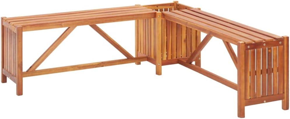 vidaXL Massello Acacia Panca Giardino Angolare con Fioriera Robusta Elegante Rustica Panchina con Vaso Portafiori Seduta per Esterni Naturale