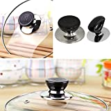 universal pot lid handle - niceeshop(TM) Pot Lid Cover Knob Handle Universal Kitchen Replacement Cookware Lid Holder,Black+Sliver (Pack of 2)