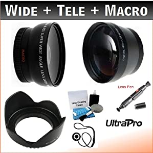 55mm Essential Lens Kit with 2x Telephoto, 0.45x HD Wide Angle w/Macro, and Flower Tulip Lens Hood for Select Sony Digital Cameras. UltraPro Deluxe Accessory Set Included