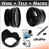 52mm Digital Pro Essential Lens Kit, Includes 2x Telephoto Lens + 0.45x HD Wide Angle Lens w/Macro + Flower Tulip Lens Hood + Lens Cleaning Pen + Lens Cap Keeper + UltraPro Deluxe Lens Cleaning Kit. For the Nikon D40, D40x, D50, D55, D60, D90s, D200, D3x Digital SLRs.