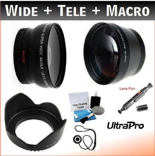 67mm Essential Lens Kit, Includes 2x Telephoto Lens + 0.45x HD Wide Angle Lens w/Macro + Flower Tulip Lens Hood + Lens Cleaning Pen + Lens Cap Keeper + UltraPro -