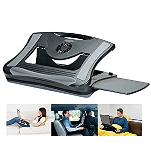 Gaming Laptop Desk , Car Laptop Stand , Cusioned Laptop Cooling Stand, Adjustable for Universal Couch Office Laptop Lap Stand w Right Left Mouse Tray and Fan