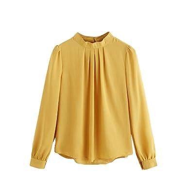 6a4ecf75a000 Kangma Women Summer Casual Chiffon Long Sleeve Loose Shirt Tops Blouse  Yellow at Amazon Women s Clothing store