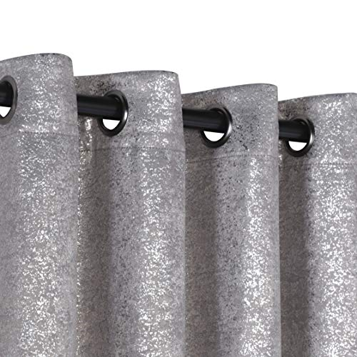 GoodGram 2 Pack Sparkle Chic Thermal Blackout Curtain Panels - Assorted Colors (Grey) (Silver Grey Curtains)