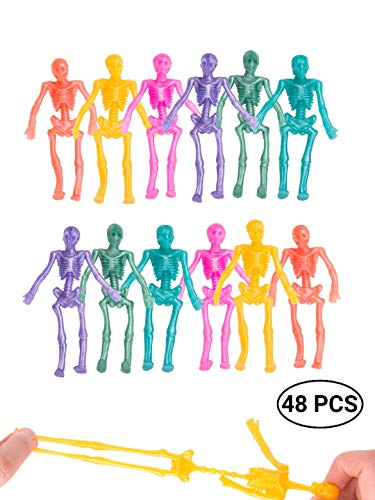 Food Ideas For Preschool Halloween Party (UpBrands 48 Pack Stretchy Skeleton 4 inches Bulk Set 8 Glitter Colors, Kit for Birthday, Halloween Party Favors for Kids, Goodie Bags, Easter Egg Basket, Pinata Filler, Small Toys Classroom)