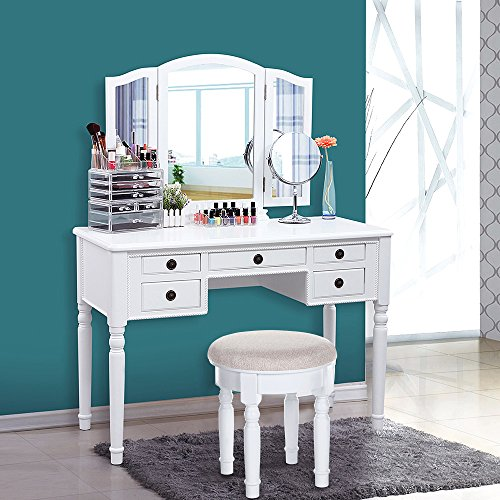 Songmics Vanity Set Tri Folding Mirror Make Up Dressing Table Cushioned Stool 5 Drawers White
