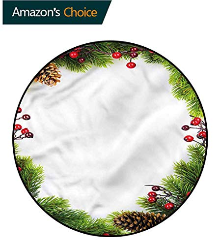 RUGSMAT Christmas Dining Room Home Bedroom Carpet Floor Mat,Xmas Frame Pine Cones Non-Slip No-Shedding Bedroom Soft Floor Mat Round-51