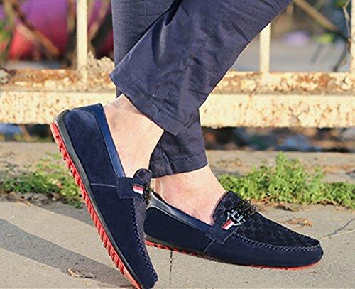 slip scarpe Bebete5858 mocassino grande molto mocassino traspirante casual scarpa specialmente uomo Blu Large nero Casual on scarpa piselli moda ragazzo uomo Extra Size scarpe PP1fRTq
