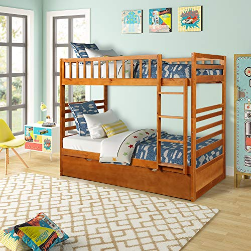 Bunk Beds for Kids, Over Twin Bed with Trundle, Wooden Twin Bed with Drawer and Safety Rail Ladder, Teens Bedroom Bed, Guest Room Furniture (Oak)