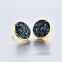 12mm Tiny Druzy Earrings Round Metallic Glitter Stainless Steel Studs Beach LOVE STORY nogluck (Dark Blue)