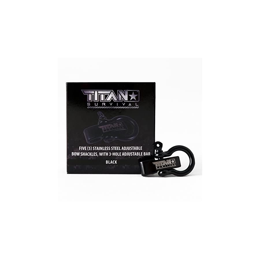 Titan Bow Shackles for Paracord Bracelets (5 Pack) | Premium Stainless Steel Metal Clasps Holds up to 1650 lbs in an Emergency.