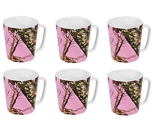 Mossy Oak Stoneware Mugs - Set of 6, Pink Camo
