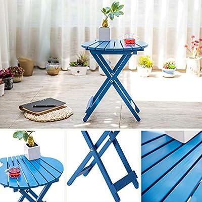 LRW Solid Wood Folding Balcony Multi-Layer Indoor Blue Flower Stand Living Room Wooden Floor Fleshy Flower Pot Rack: Garden & Outdoor