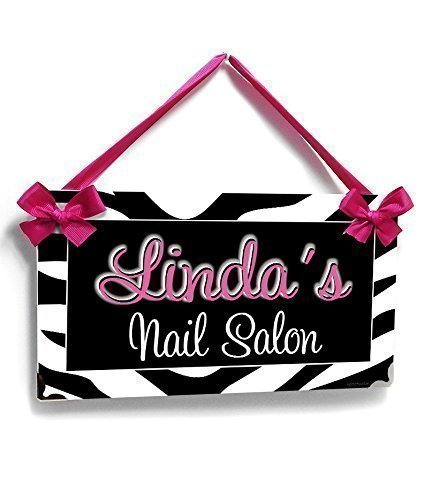 Personalized Nail Salon, Zebra Pattern with Hot Pink - Name Pink Metal Hot