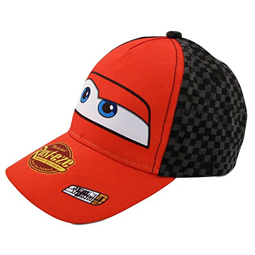 Disney Little Boys Cars Lightning McQueen Character Cotton Baseball Cap, Red/Black, Age 2-7 (Toddler Boys - Age 2-4 - 51CM) -