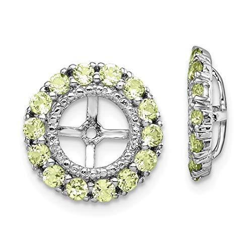 925 sterling silver diamond green peridot earrings