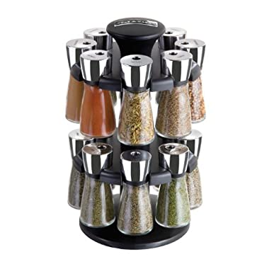 Cole & Mason Herb and Spice Carousel rack with 16 Glass Jars and Spices