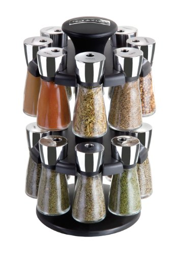 Cole & Mason Herb and Spice Rack with Spices - Revolving Countertop Carousel Set Includes 16 Filled Glass Jar Bottles Jar Spice Carousel