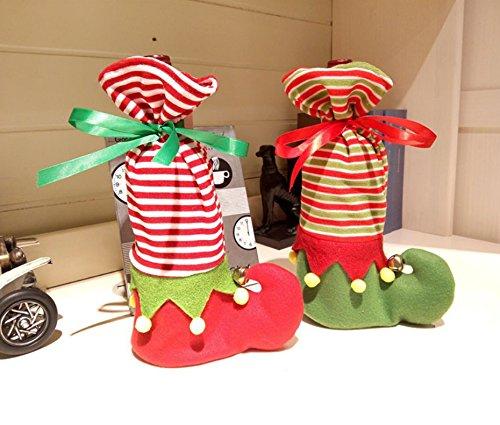 Smtni(TM) Christmas Wine Bottle Cover Holder Gift Bag Xmas Eve Dinner Table Decoration Elves Shoes For Christmas--(Pack of 2) (Xmas Wine Gifts)