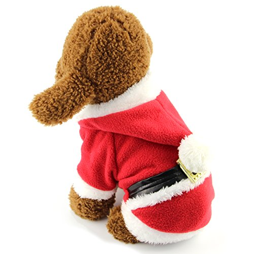Funny Little Dog Costumes (MEWTOGO Pet Dog Cat Durable Fleece Hooded Costume - Cat Dog Turned Funny Cold Weather Clothes (Two legs Santa,S))
