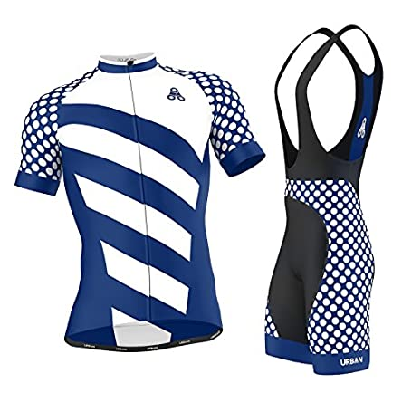 Men's Urban Cycling Short Sleeve Jersey, Bib Shorts,...