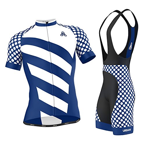 Men's URBAN CYCLING TEAM Short Sleeve Jersey & Bib Shorts Cycling Kit Set, Limited Edition (Large, ELITE ROYAL Jersey & Bib Shorts Set)