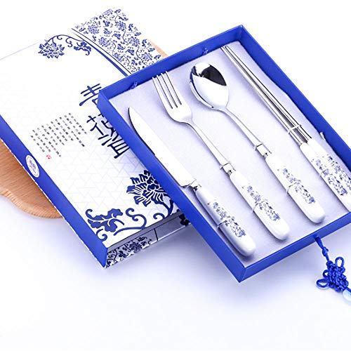 Porcelain Blue Light (4 Pieces Travel Flatware Set with Delicate Box,Blue and White Porcelain Tableware Set (Knife Fork Spoon and Chopsticks) As a Best Christmas Gift)