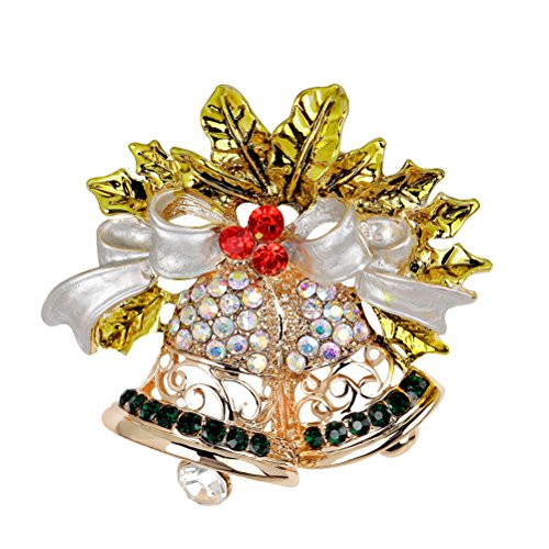 JUNKE Christmas Jingle Bells Brooch Bow Brooches Crystal Gold Bling Xmas Gifts Decoration
