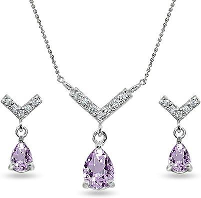 "925 Sterling Silver Amethyst Dangle Drop Earrings Chain Pendant Necklace Set 20/"""