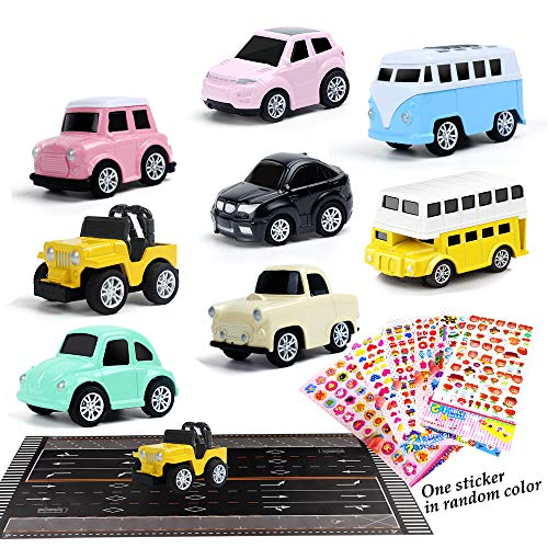 Alpacasso 10 PCS Pull Back Cars Toys for Girls, Alloy Die Cast Toy Set Vehicles Micro Machines Model Party Supplies Toy Cars Set for Toddlers Boys Kids Age 2 3 4 5 6+ (Road Map/Sticker Included) -