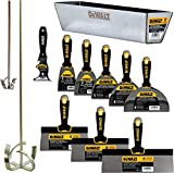 DEWALT DELUXE Stainless Hand Tool Set | 8/10/12' Taping Knives, 3/4/5/6/8' Putty Knives, 2 Mud Mixers, 9-in-1 Painter's Multitool + FREE BONUS 14' Mud Pan | DXTT-3-609