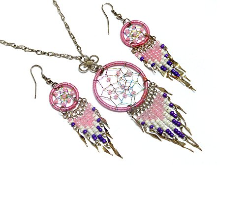 - Mia Jewel Shop Dream Catcher Long Beaded Dangle Silver Chain Necklace and Earrings Jewelry Set (Pink/White/Purple)