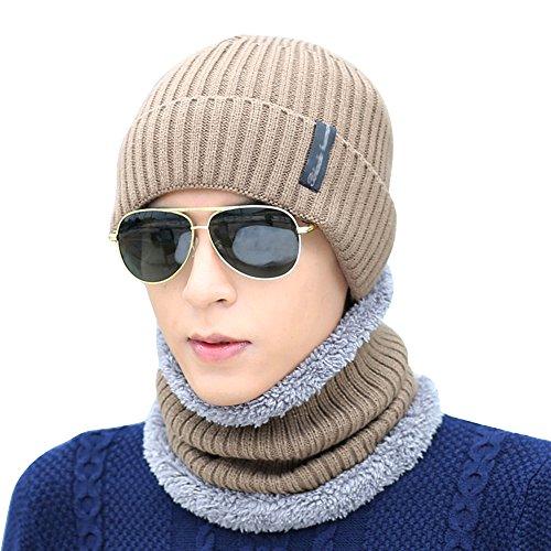 Bufanda negro Set de Cap Caqui Cuello de fleace gorra gorro Slouch Sombrero Cap hugestore invierno de cálido negro punto Cálido Hombres punto nwUCqnSxRZ