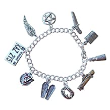 Supernatural Charm Bracelet- Pewter Charms, Silver Plated Chain- Demon Hunters- Handmade -Sizes XS to XL