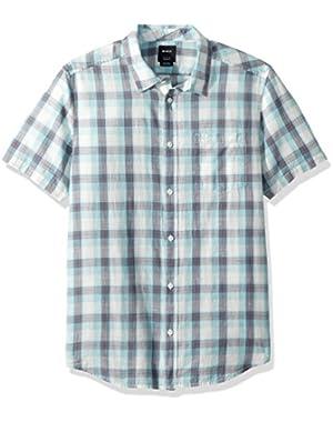 Men's Deep Plaid Short Sleeve Woven Button Down Shirt