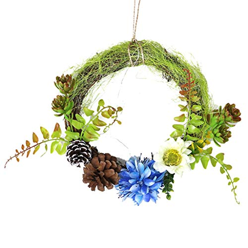 Fine Christmas Wreath Door Wall Ornament,Home Decoration Wedding Decoration Wreath Door Pendant, Christmas Wreath, Housewarming Gift, Home Decor (Blue) (Fireplace Patio Place And)