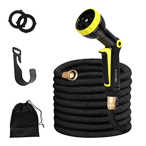 MARNUR Garden Hose 50ft-Expandable Garden Hose Water Hose Nozzle with 9 Way Spray -Garden Hose Holder with Brass Connectors for Gardening Car Washing and Pet Showering