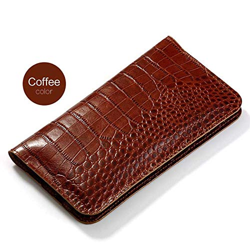 for iPhone 6 7 8 X Leather Case, Crocodile Double Mobile Phone Bag(Crocodile Skin Texture) with Card Slot, Compatible with iPhone 6P 7P 8Plus XR XS max (Coffee,for iPhone XR) (Cases 6 Crocodile Leather Iphone)