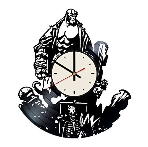 Hellboy Vinyl Record Wall Clock Wall Art Decor Gift idea for Birthday, Christmas, Women, Men, Friends, Girlfriend Boyfriend and Teens - Decor for Bedroom Living Kids Room Nursery