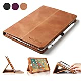 BoriYuan iPad Pro 9.7 Case - Vintage Genuine Leather Smart Cover Protective Slim Folio Flip Stand for Apple iPad Pro 9.7 Inch with Card Slot Magnetic Sleep Wake+Stylus+Screen Protector - Brown